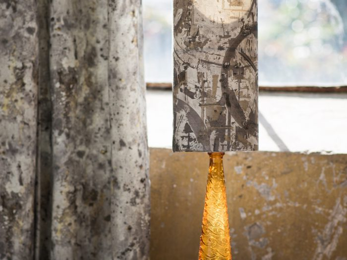 Revolution lamp and Osmosis Curtain in Stone at William Clark