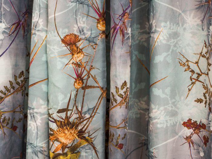 Wild Thistles Teal drape, 100% Irish Linen